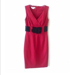 Kay Unger Sleeveless Belted Sheath Dress